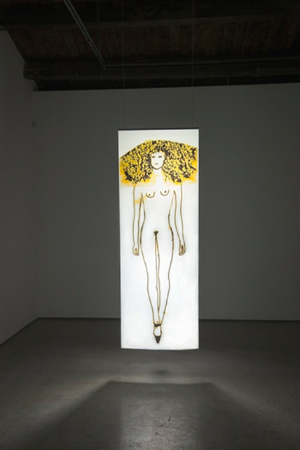 Ida Applebroog – The Ethics of Desire (2014), Ultrachrome ink on mylar (296,5 x 106,7 cm / 116 3/4 x 42), Artist's brokerage & Hauser & Wirth Gallery (NY, USA)