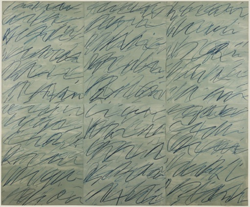 Cy Twombly – Roman Notes (1970), in The complete set of six offset lithographs (86,8 x 70 cm), Printed by Electa Ed. (Venice), published by Neuendorf Verlag (Hamburg). Edition 100. Image courtesy Craig F. Starr, Gallery New York © The estate of Cy Twombly